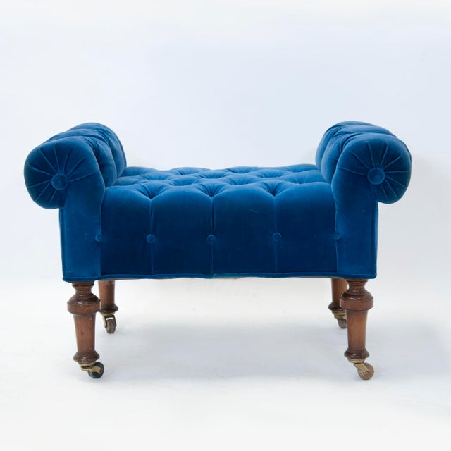 Late 19th Century Edwardian English Arm Chair and Foot Stool For Sale - Image 5 of 12