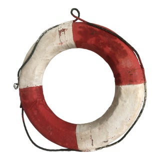 Vintage Red and White Life Preserver Wall Decor For Sale