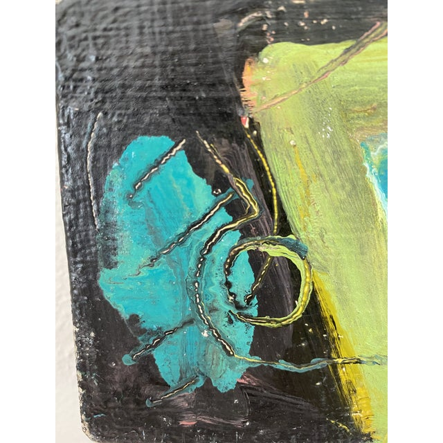 Vintage Postmodern Abstract Sgraffito Oil Painting For Sale - Image 9 of 13