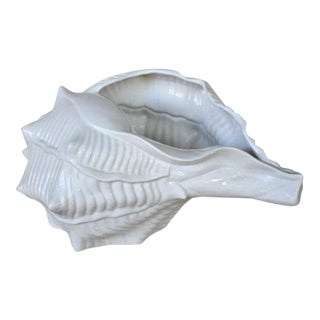 Vintage Italian Ceramic Conch Shell Cachepot For Sale