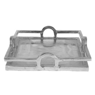 Transitional Art Deco Aluminum Square Nickle Serving Cocktail Tray