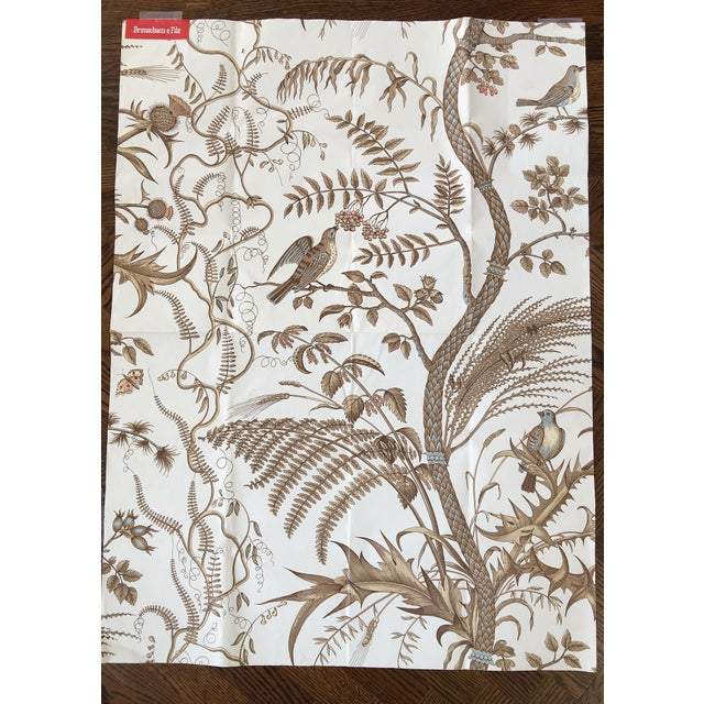 Brunschwig Fils Iconic Bird And Thistle Pattern Wallpaper In Colorway Beige Purchased For A