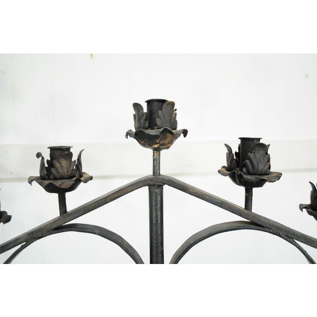 "Metal 61"" Pair of Antique Gothic Mission Arts & Crafts Wrought Iron Candelabras Church For Sale - Image 7 of 11"