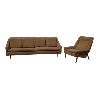 Vintage Mid-Century Modern Brown Sofa and Chair Folke Ohlsson for Dux Style For Sale