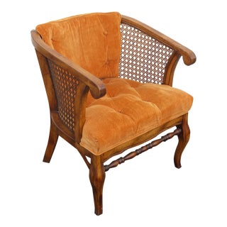 Vintage French Provincial Cane Sided Club Chair With Orange Tufted Upholstery For Sale