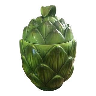 Lidded Ceramic Artichoke Canister