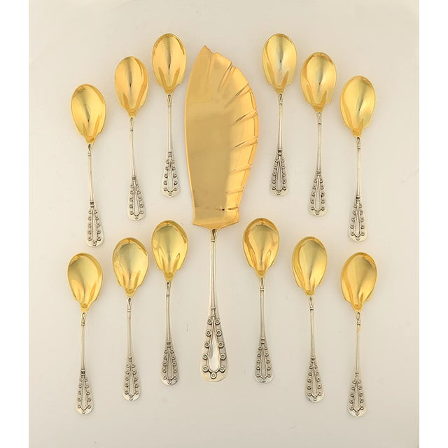 Tiffany Daisy Sterling/Gold Wash 13pc Ice Cream Set For Sale In Greensboro - Image 6 of 6