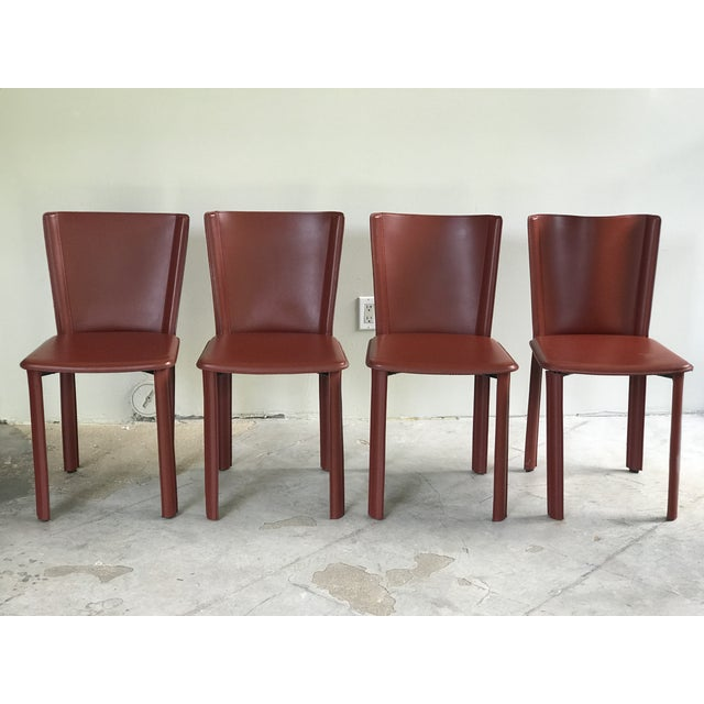 """DWR Red """"Bottega"""" Side Chairs - Set of 4 For Sale In Houston - Image 6 of 8"""