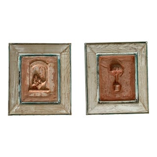 Rustic Framed Plaster Mold Panels Flower Pot and Topiary - a Pair For Sale