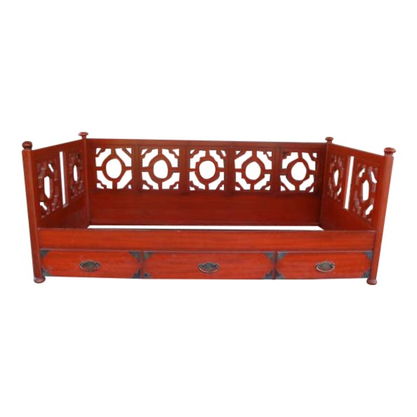 1970s Chinoiserie Fretwork Daybed Sofa Fits Twin Bed For Sale