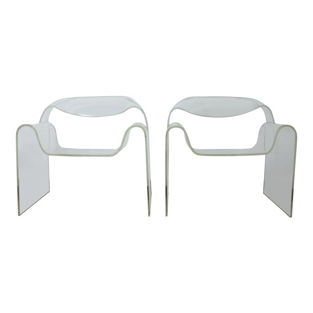 Vintage Pair of Lucite Ribbon Style Lounge Chairs For Sale