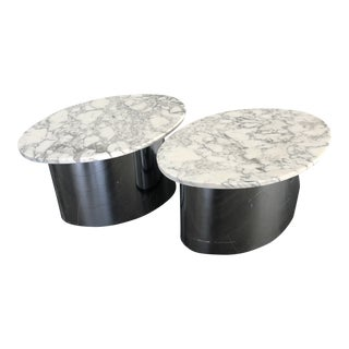 Mid Century Modern Chrome and Marble Side Tables - a Pair For Sale