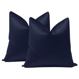 "22"" Navy Blue Luxe Velvet Pillows - a Pair For Sale"