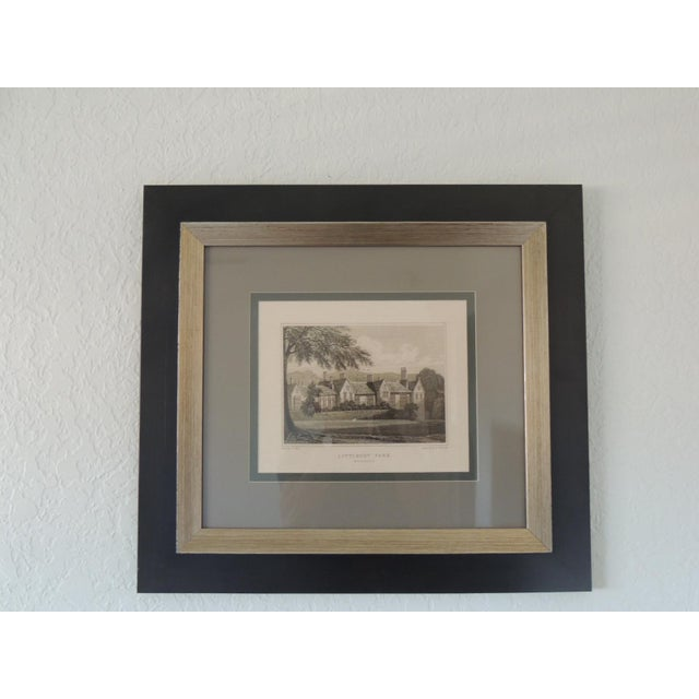 1990s English Manors Engraving Reproduction in Black and White Framed #3 For Sale - Image 5 of 5