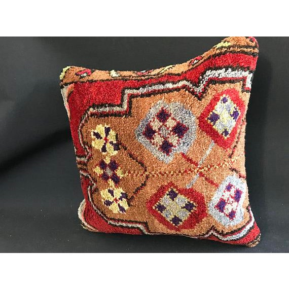 Red 1960's Turkish Tribal Handmade Oushak Pillow Case For Sale - Image 8 of 9
