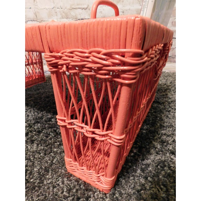 Vintage Coral Painted Wicker Bed Tray - Image 5 of 7