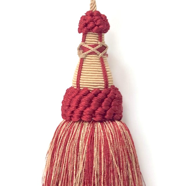 Red and Gold Key Tassels With Looped Ruche - a Pair For Sale - Image 4 of 9