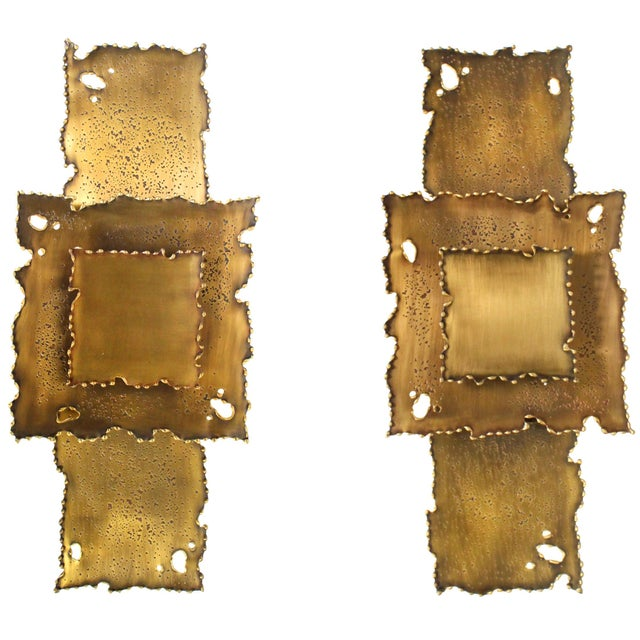 Brass Brass Brutalist Torch Cut Sconces - a Pair For Sale - Image 8 of 8