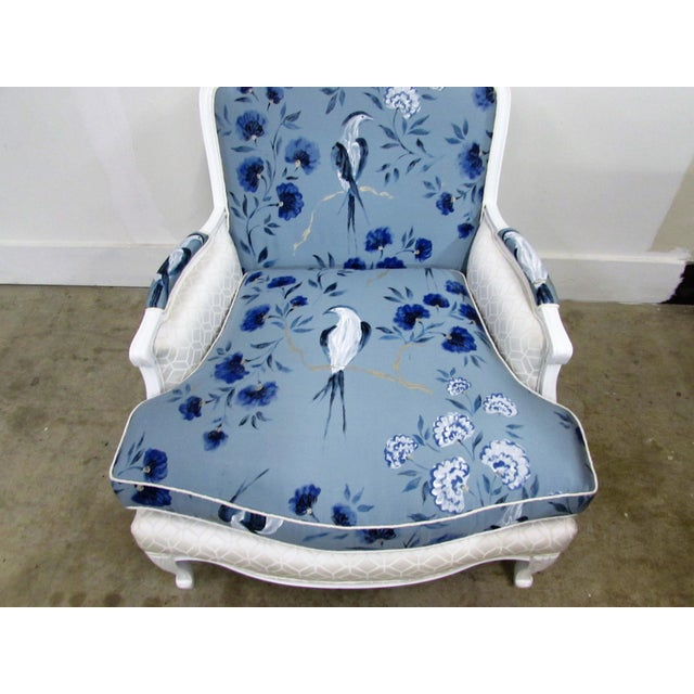 Blue French Bergère Armchairs in White Lacquer and Designers Guild Jacaranda - a Pair For Sale - Image 8 of 11