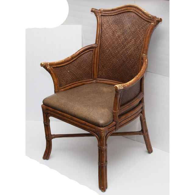Vintage Chippendale Style Bamboo & Leather Chair - Image 4 of 9