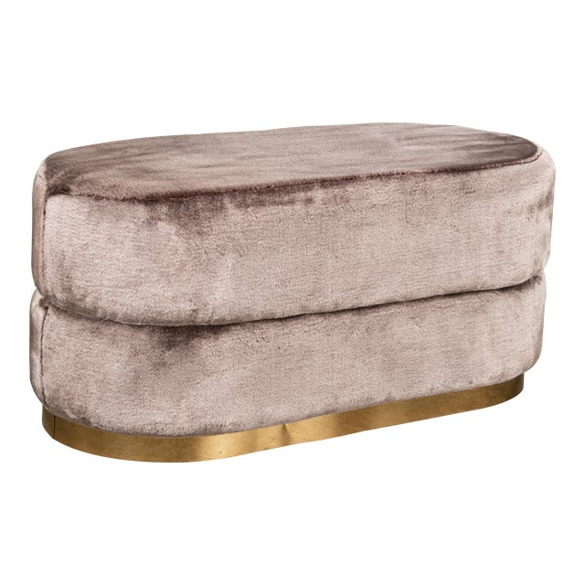Peyton Oval Fur Ottoman in Mink For Sale