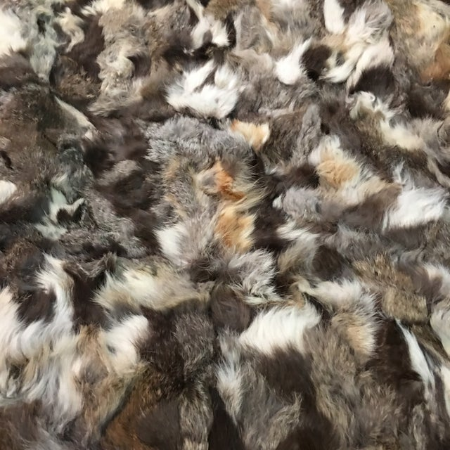 "Vintage Rustic Rabbit Fur Throw - 5'10"" x 7'6"" - Image 5 of 5"