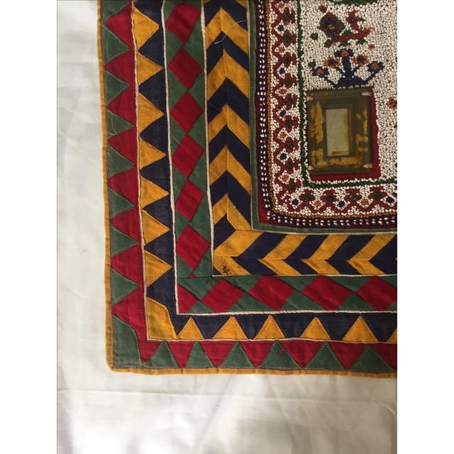 Vintage Beaded Indian Peacock Tribal Wall Hanging For Sale - Image 7 of 7