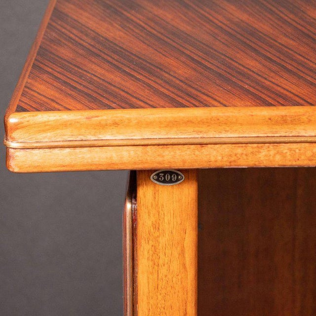 Brown Art Deco Machine Age Bow Front Bookmatched Rosewood, Walnut & Black Lacquer Desk For Sale - Image 8 of 11