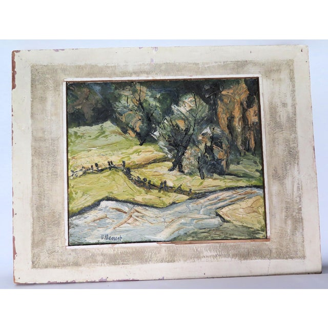 "1940s Impressionist Oil by Listed Artist "" Jan Hillcourt"" For Sale - Image 5 of 5"