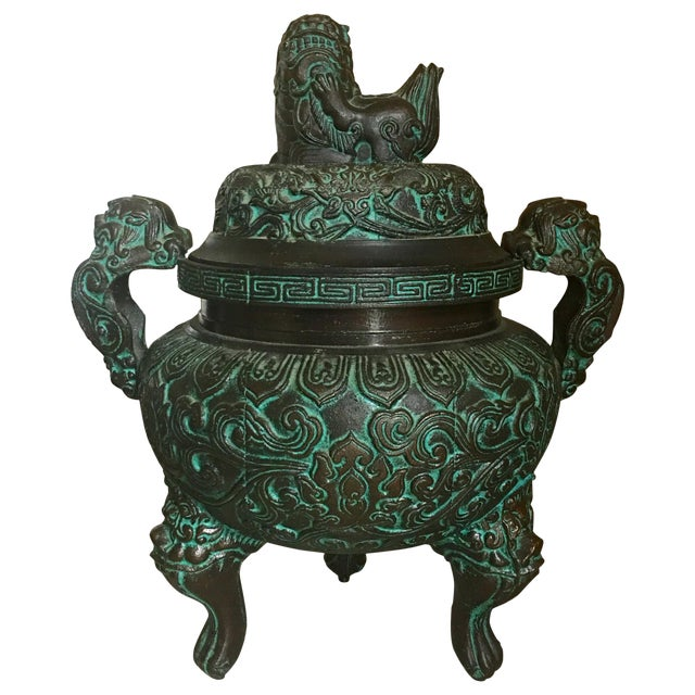 Midcentury James Mont Style Asian Style Greek Key Ice Bucket Urn For Sale
