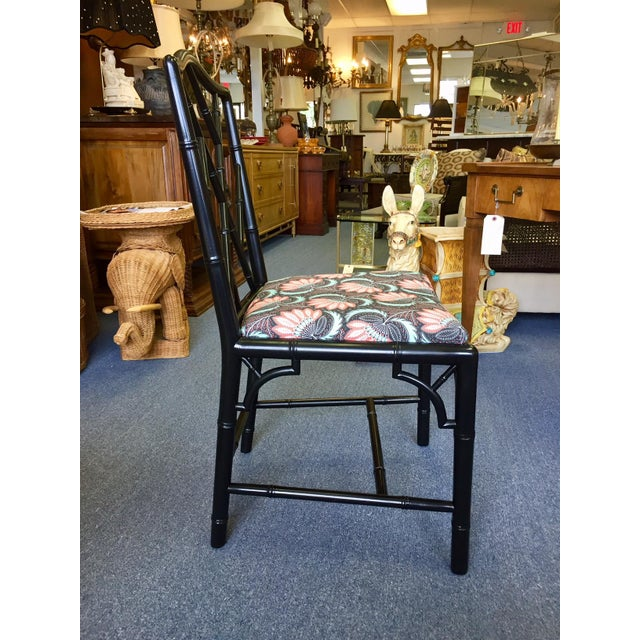 1970s Asian Modern Chippendale Reupholstered Black Wood Dining Chairs - Set of 5 For Sale In West Palm - Image 6 of 9