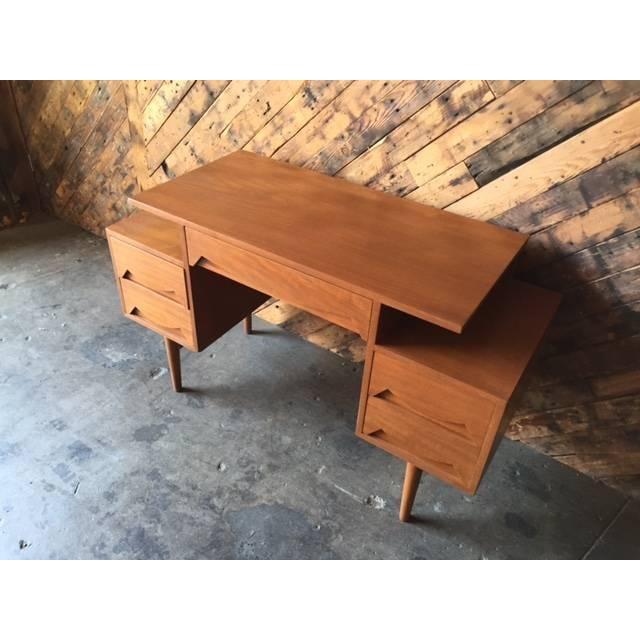 Mid Century Refinished Teak Sculpted Drawer Desk - Image 3 of 6