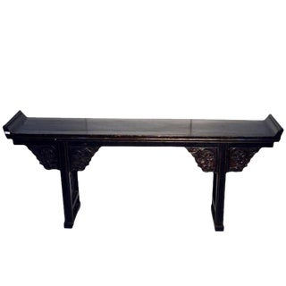 Antique Black Lacquer Console Table with Carved Details from China, circa 1800s For Sale