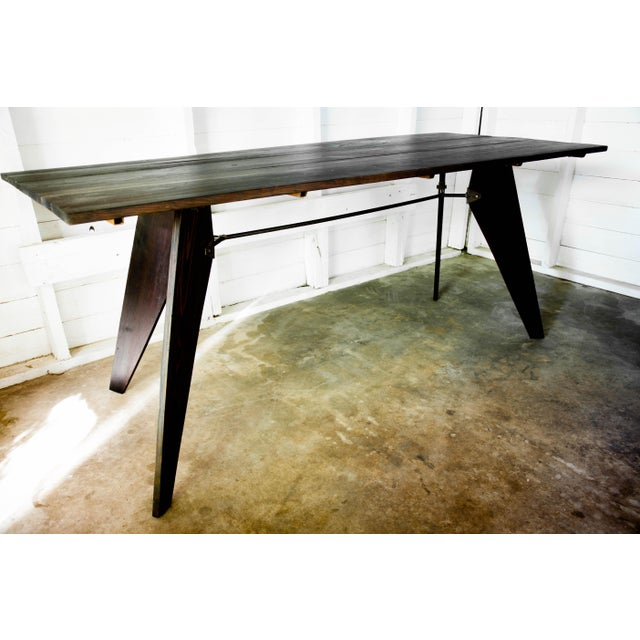 """Mid-Century Handmade Black Dining Utility Table 71"""" For Sale - Image 4 of 12"""