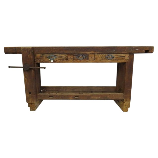 Antique 1900s Industrial Work Table - Image 1 of 6