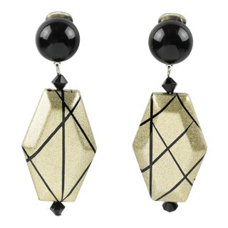 Angela Caputi Dangling Clip on Earrings Black and Pale Gold Resin For Sale