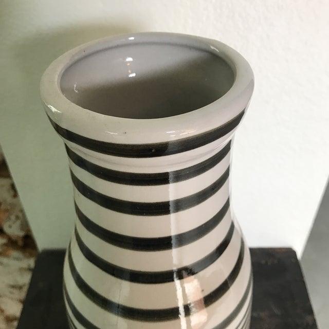 Black White Handpainted Striped Vase Chairish