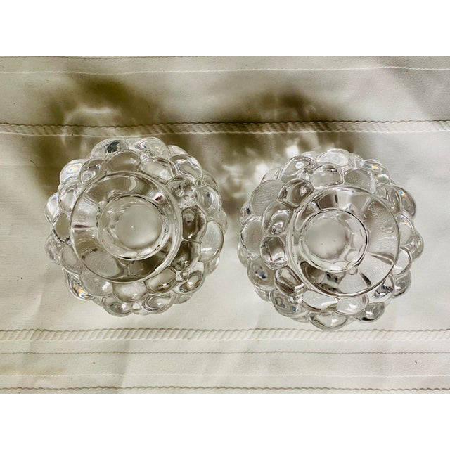 Boho Chic Orrefors Kosta Boda Raspberry Bubble Crystal Tea Votive Candle Holders - a Pair For Sale - Image 3 of 5