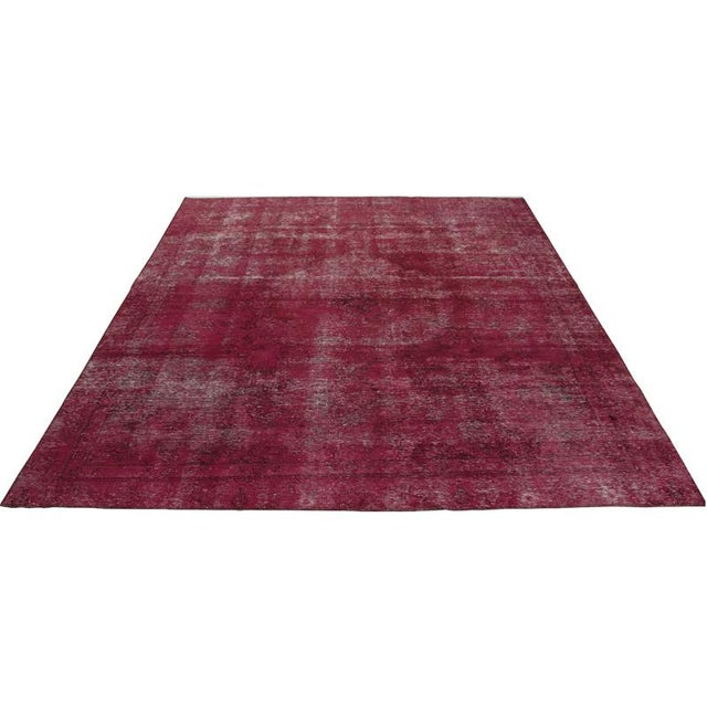 """Modern Industrial Style Distressed Over-Dyed Persian Tabriz Rug - 9'3"""" x 12'1"""" For Sale - Image 4 of 13"""