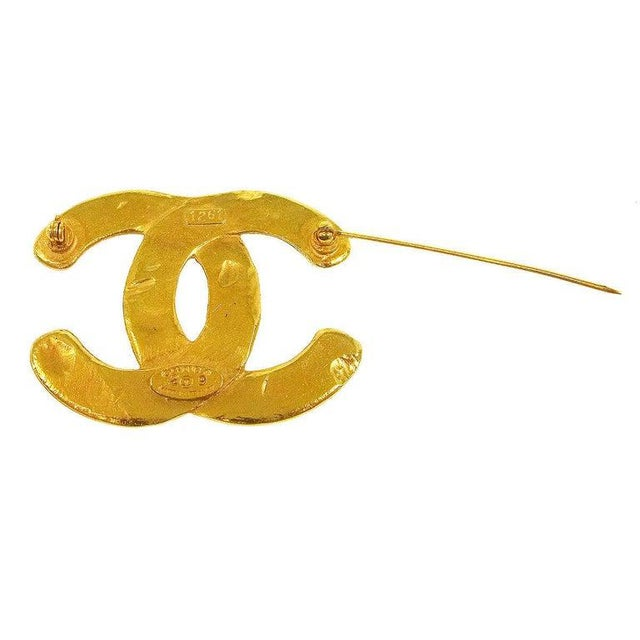 Modern Chanel Gold Textured CC Charm Lapel Brooch For Sale - Image 3 of 5