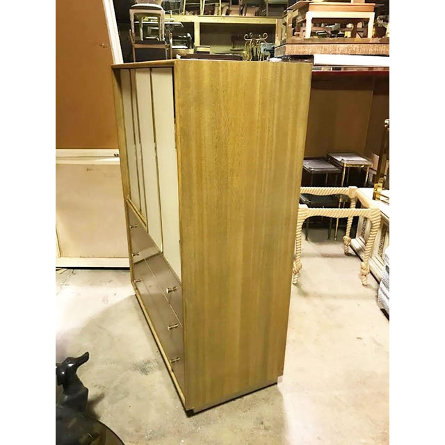 Harvey Probber Bleached Mahogany & Ivory Leather Tall Cabinet For Sale - Image 11 of 12