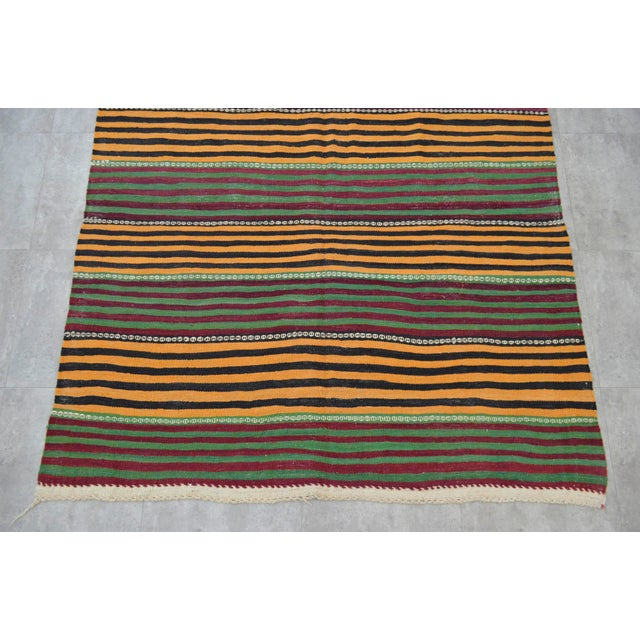 Hand-Woven Kilim Rug Striped Area Rug - 5′11″ X 9′8″ - Image 6 of 8