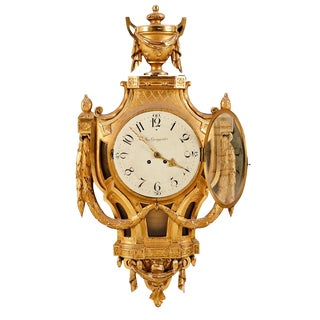 August Ljungquist Gustavian Gold Birch Wall Clock For Sale