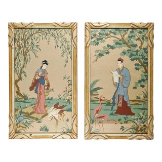 Vintage Asian Silk Screen Hand Painted Prints With Gold. Pair of 2 For Sale