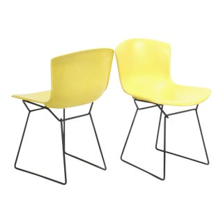 Vintage Knoll Bertoia Yellow Fiberglass Wire Side Chairs - a Pair