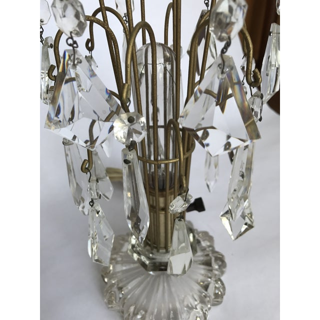 Vintage Art Deco Crystal Chandelier Lamps - A Pair - Image 3 of 10