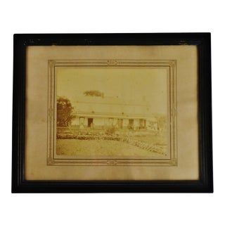 Antique Framed Sepia Homestead Photograph For Sale