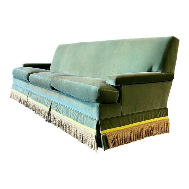 Vintage Custom Green Velvet Sofa For Sale
