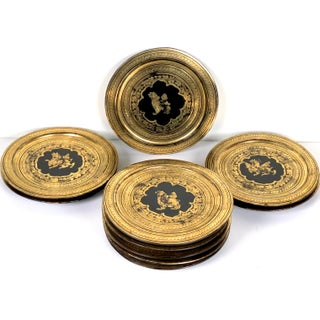 Anglo-Indian Lacquered Gold Gilt Wooden Plates - Set of 10 Preview