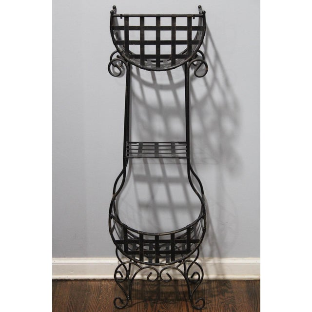 Mid 20th Century French Country Cast Iron Tiered Metal Plant Stand For Sale - Image 5 of 7